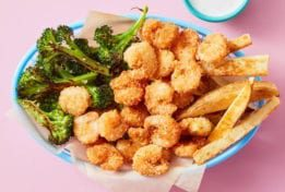 Dinnerly-Crispy Shrimp with Oven Fries & Garlic-Butter Broccoli