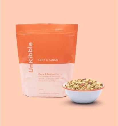 spot-and-tango-unkibble-duck recipe in bowl near bag-Spot and Tango Reviews-mealfinds
