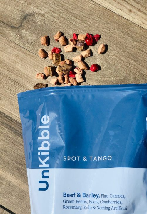 unkibble-beef-spot-tango beef and barley kibble spilling out of bag onto floor-Spot and Tango Reviews-mealfinds