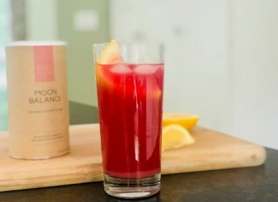 your-super-moon-balance-lemonade in glass-your super superfood reviews-mealfinds