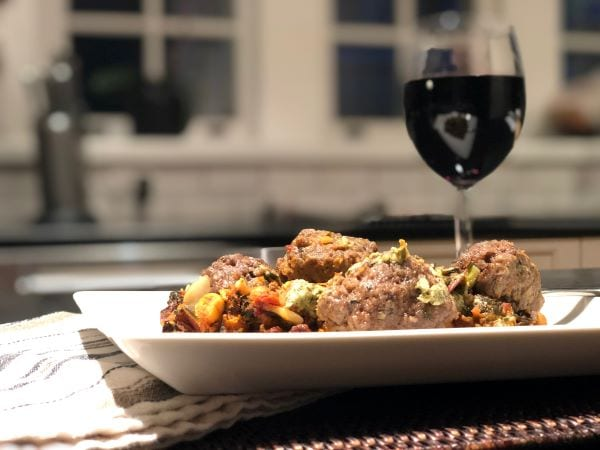 lebanese style beef meatballs dinner with wine glass-freshly food reviews-mealfinds