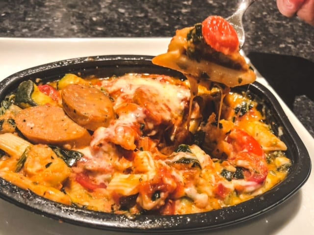 sausage penne meal in tray cooked-freshly food reviews-mealfinds