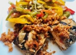 cooked red chile chicken enchilada on plate with vegetables-factor meals reviews-mealfinds
