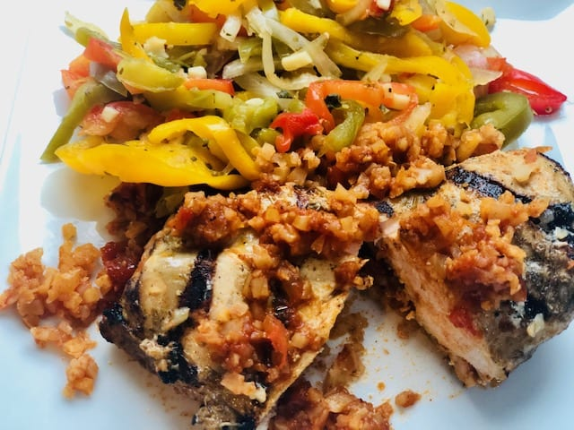 factor red-chile-chicken-enchilada cooked on plate-factor healthy prepared meals reviews - mealfinds