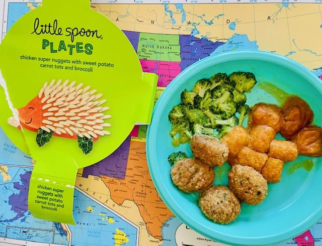 little-spoon-chicken-nuggets on plate on map placemat-little spoon plates and blends reviews-mealfinds