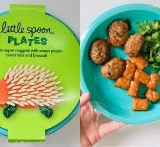 chicken nuggets with tots and broccoli on plate side by side with packaging-little spoon reviews-mealfinds