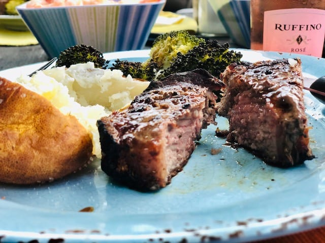 tru-local-ny-strip-steak on plate with potato and broccoli- truLOCAL Meat & Seafood Delivery Reviews - MealFinds