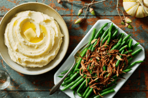 Marley-spoon-Cream Cheese Mashed Potatoes & Green Beans with Crispy Shallots & Lemon 1