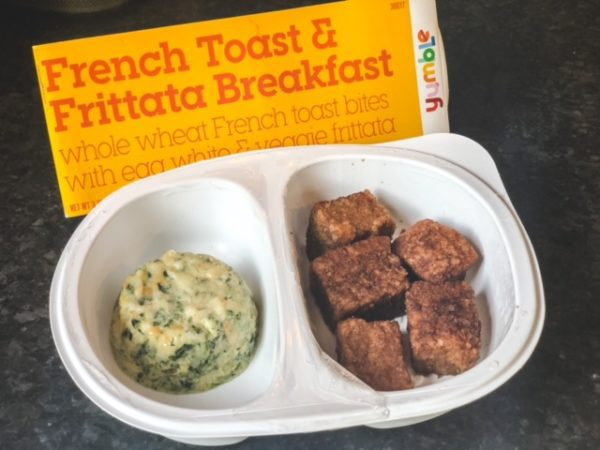 french toast and egg white frittata in tray-yumble kids meal delivery reviews-mealfinds