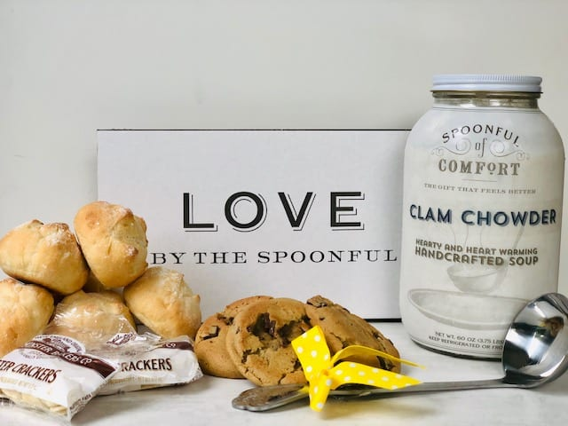 spoonful-of-comfort soup rolls cookies gifts and ladle on counter- spoonful of comfort reviews-mealfinds