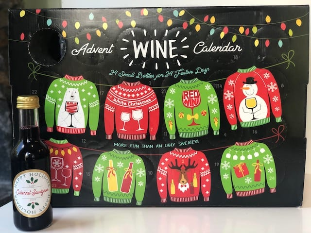ugly sweater wine advent calendar with one wine out-wine advent calendar-mealfinds