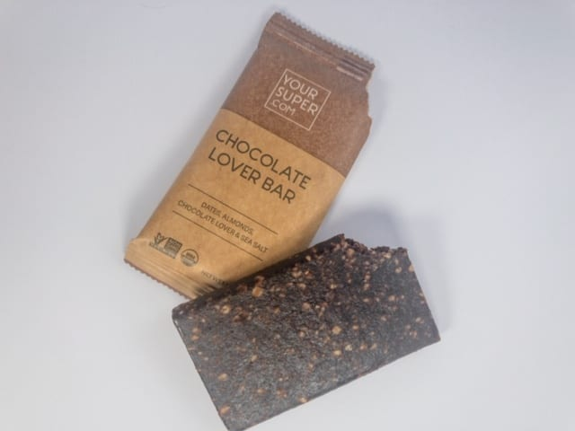 your-super-chocolate-lover bar out of package-your super superfood reviews-mealfinds
