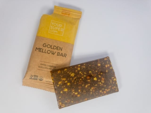 your-super-golden-mellow-bar out of package-your super superfood reviews-mealfinds