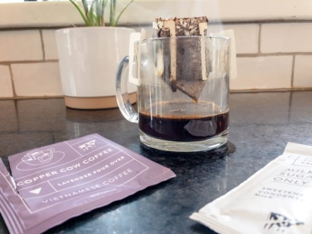 copper cow lavendar coffee brewed over mug-copper cow coffee reviews-mealfinds