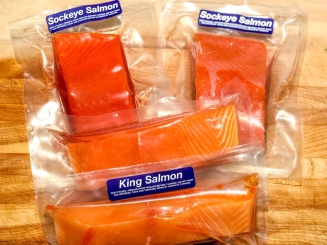 sizzlefish-sockeye-king-salmon in packaging- Sizzlefish Seafood Delivery Reviews - MealFinds