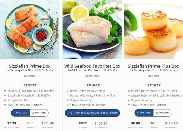 sizzlefish-subscription sample menu- Sizzlefish Seafood Delivery Reviews - MealFinds