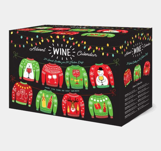 ugly sweater wine advent calendar-holiday food gift ideas-mealfinds