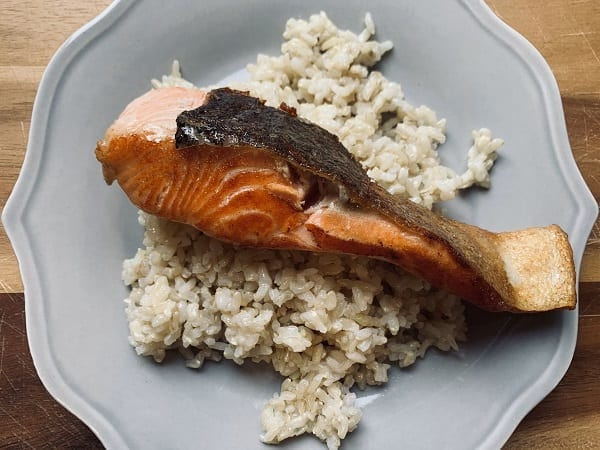 ocean trout on plate with rice-Meat N Bone reviews-mealfinds