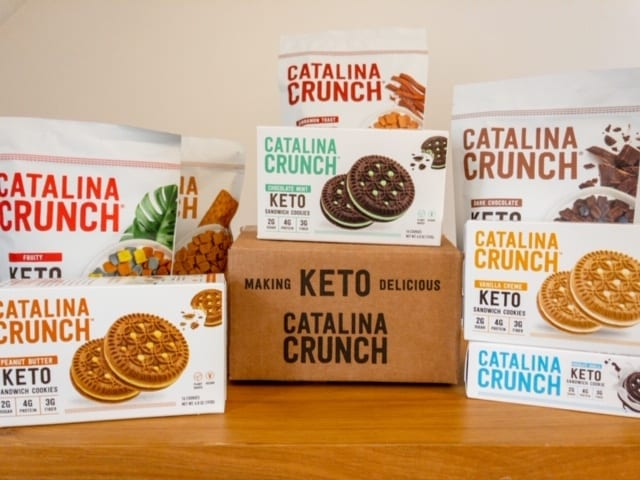 catalina crunch cereal and cookie boxes stacked-catalina crunch keto cereal reviews-mealfinds