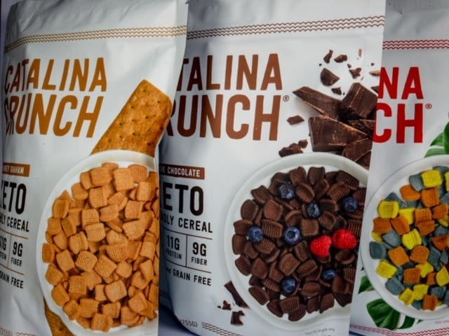 three bags of catalina crunch cereal-catalina crunch keto cereal reviews-mealfinds