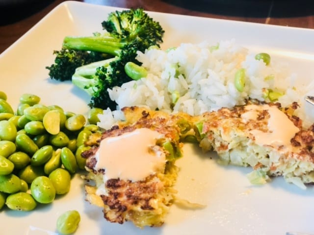 veggie fritters and veggies on plate-green chef reviews-mealfinds