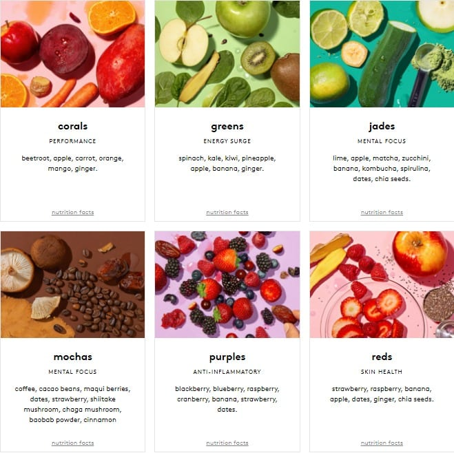 kencko-smoothie-flavors in grid-kencko Organic Instant Smoothies Reviews-mealfinds