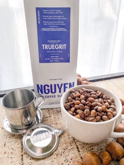 nguyen truegrit coffee bag and bean in mug with phin kit-nguyen coffee supply reviews-mealfinds