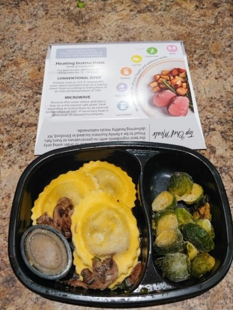 ravioli meal cooked in package-top chef meals reviews-mealfinds