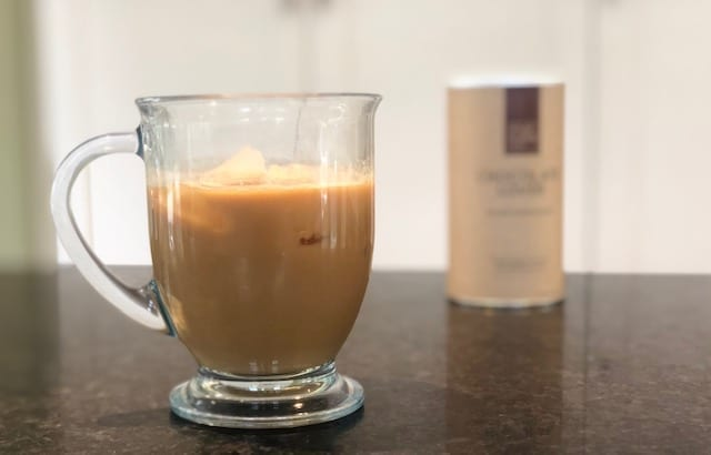 yoursuper-chocolate-lover mix and chocolate coffee in cup-your super superfood reviews-mealfinds