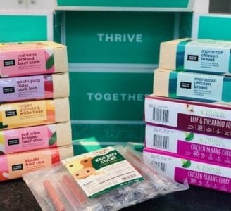 thrive market order stacked on counter-thrive market reviews-mealfinds