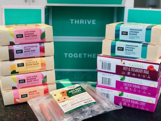 thrive market order stacked up on counter-thrive market reviews-mealfinds