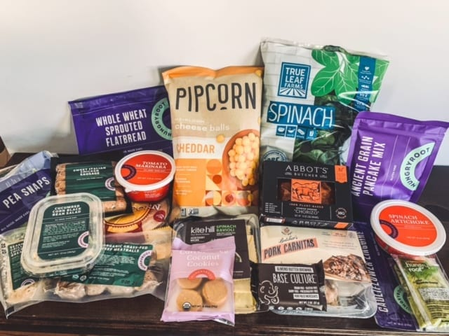 hungryroot box items on table-hungryroot reviews-mealfinds