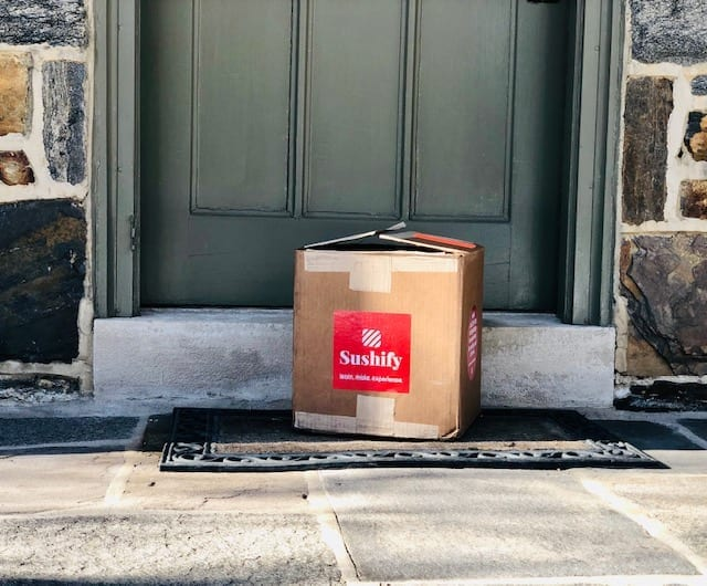 sushify box outside door- Sushify Meal Kit Reviews - MealFinds