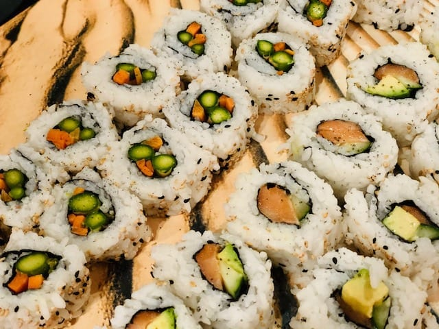 sushi rolls lined up on serving tray- Sushify Meal Kit Reviews - MealFinds