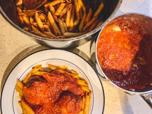 cooked sausage meatballs and pasta-what a crock crock pot meals reviews-mealfinds