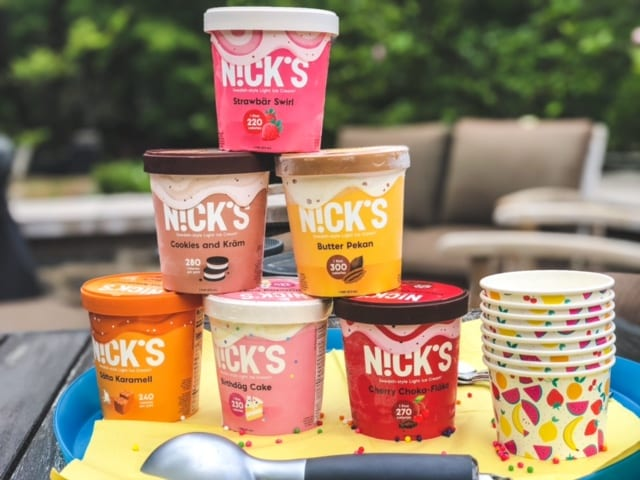 nicks ice cream 6 pack stacked on table-nicks ice cream reviews-mealfinds