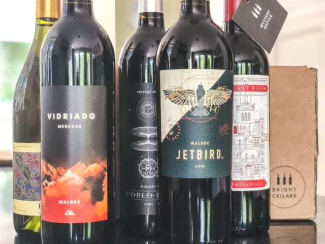5 bottles of wine in front of bright cellars box-bright cellars review-mealfinds