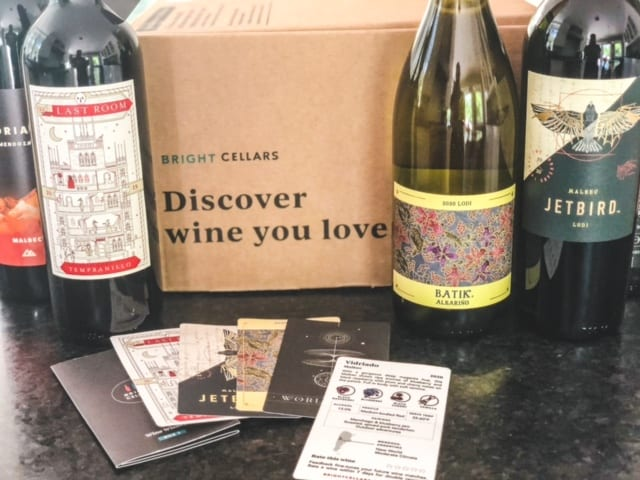 box with wine bottles and info cards-bright cellars review-mealfinds