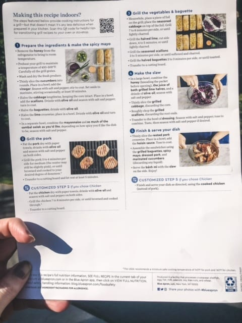 blue apron meal kit recipe card - blue apron meal kit reviews - mealfinds