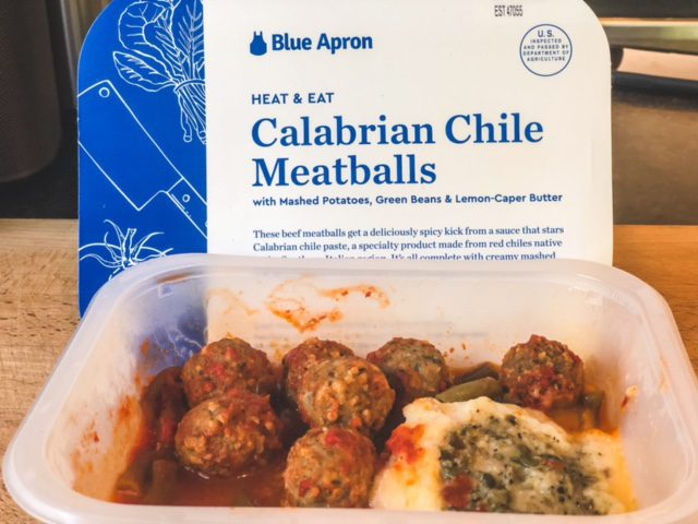 calabrian chile meatballs heat and eat meal cooked-blue apron review-mealfinds