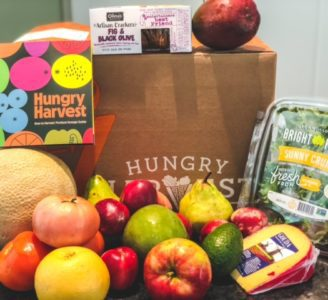 hungry harvest fruit veggies cheese in front of box - hungry harvest reviews-mealfinds