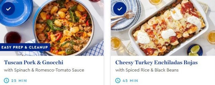 meal kit order tuscan gnocchi and enchiladas-blue apron meals review-mealfinds