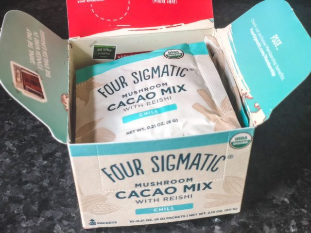 four sigmatic cacao mix with reishi box open-four sigmatic mushroom coffee reviews-mealfinds
