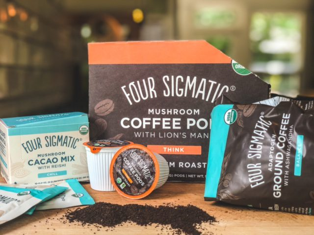 four sigmatic coffee pods ground coffee and cacao mic on counter-four sigmatic mushroom coffee reviews-mealfinds