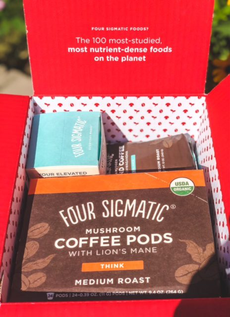 four sigmatic products in open box-four sigmatic mushroom coffee reviews-mealfinds