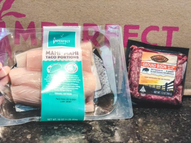 mahi mahi and ground bison in packages-imperfect foods review-mealfinds
