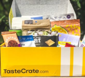 tastecrate box open with snacks and logo-tastecrate review-mealfinds