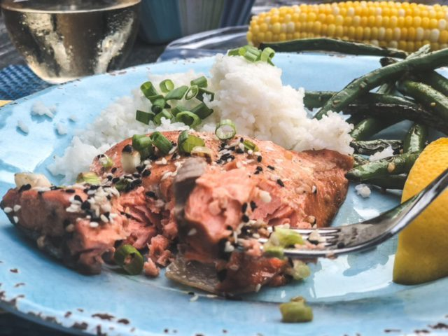 sockeye salmon on plate with rice green beans and corn-good chop reviews-mealfinds
