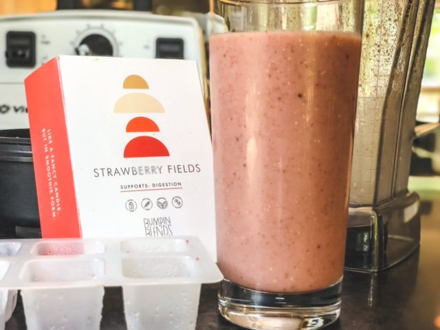 starwberry fields smoothie made with box and tray-bumpin blends smoothies reviews-mealfinds