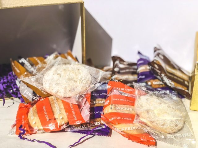 cookies in package spilling out of gift box-bake me a wish reviews-mealfinds